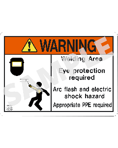 Welding Safety Warning Sign: Eye Protection Required